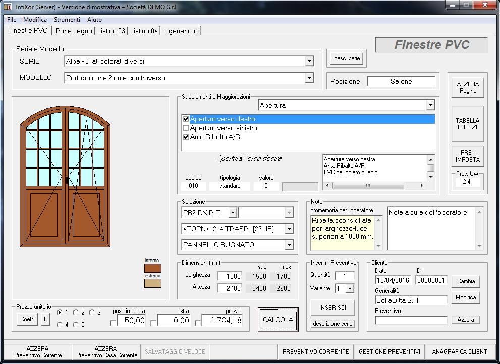 Infixor software preventivi finestre e serramenti for Software di progettazione domestica personalizzato